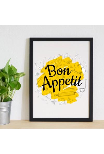 Miya Design Bon Appetit Siyah Çerçeveli Poster 30 x 40 cm