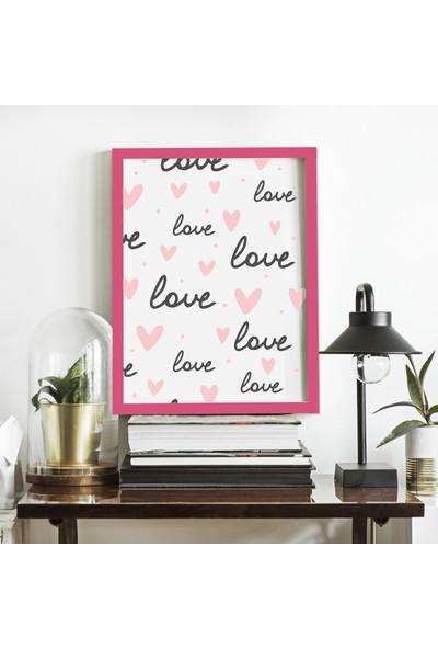 Miya Design Love Pembe Çerçeveli Poster 21 x 30 cm