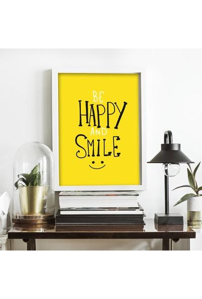 Miya Design Happy Smile Beyaz Çerçeveli Poster 21 x 30 cm