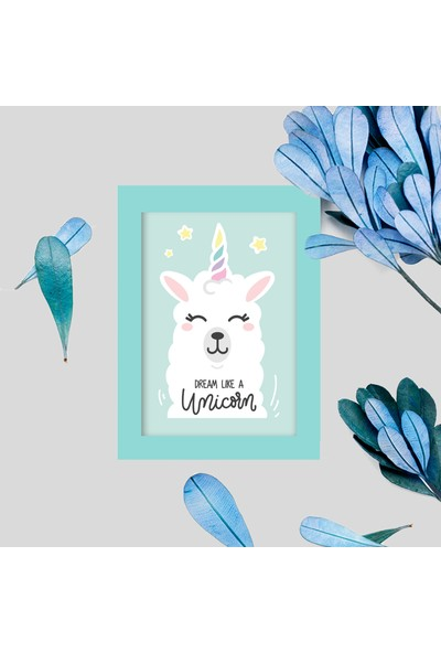 Miya Design Tatlış Unicorn Mavi Çerçeveli Poster 10 x 15 cm