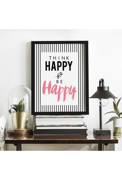 Miya Design Think Happy Siyah Çerçeveli Poster 21 x 30 cm