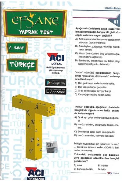 Açı 6. Sınıf Türkçe Çek Kopart Yaprak Test