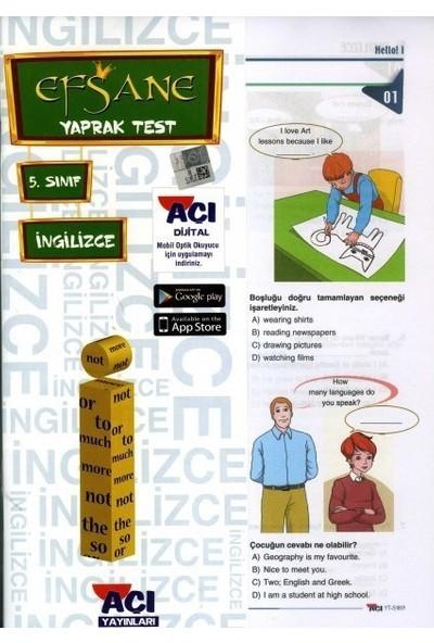 Açı 5. Sınıf İngilizce Çek Kopart Yaprak Test