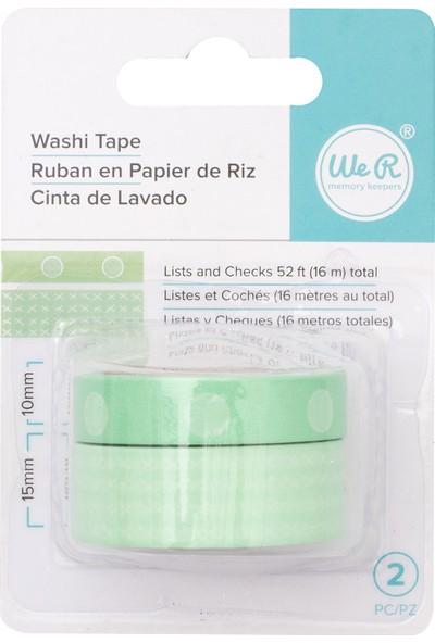 Wr Washi Check Mint 2 Pcs Desenli Bant