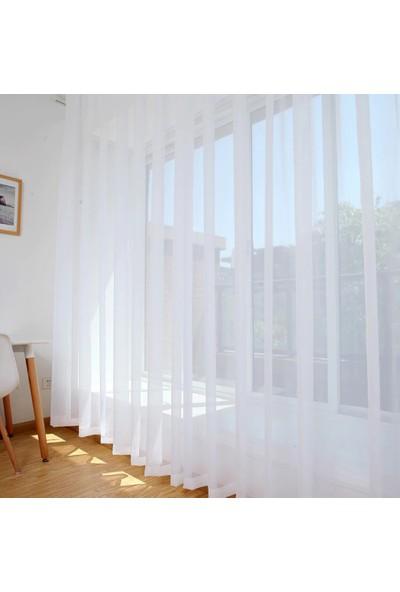 Güneş Perde Brillant Ekru (Kırık Beyaz) Düz Tül 300X260 cm