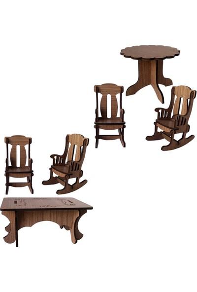 Hobi Minyatür Dikdörtgen Ve Oval Masa Sandalye Set 6 Parçalı Set