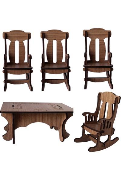 Hobi Minyatür Dikdörtgen Masa Ve 2 Adet Sandalye Ahşap Obje