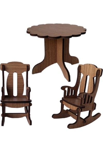 Hobi Minyatür Papatya Masa Sandalye Ahşap Obje Seti