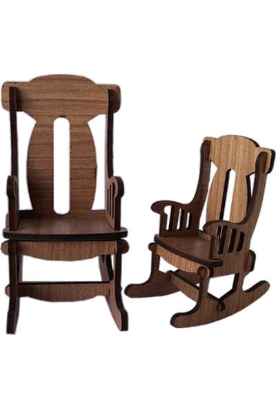 Hobi Minyatür Sandalye Ahşap Obje 2'li Sandalye Seti