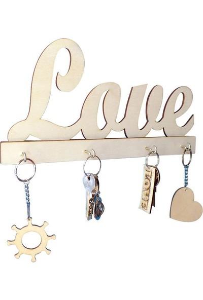 Cici Sevgililer Günü Love Ahşap Anahtarlık