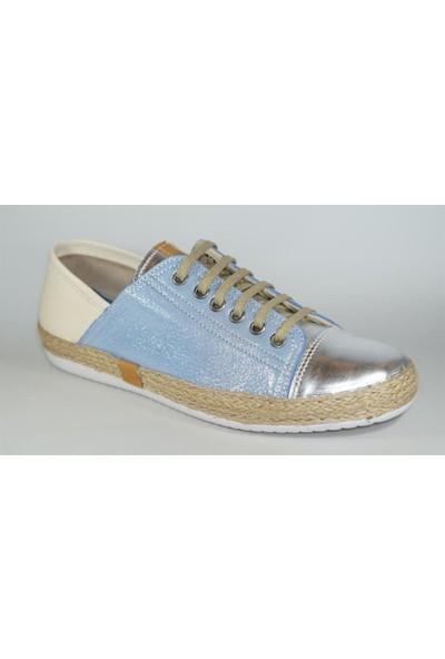 Freefoot 00121 Lame Sedef Mavi Bej Kadın Günlük Ayakkabı