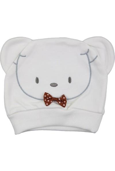 Minitoy Ayı Desenli Bebek Şapka Ekru
