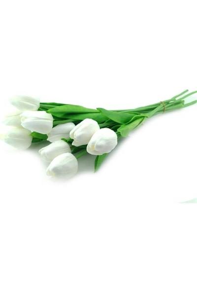Hobby Concept Yapay Çiçek Islak Lale Beyaz 10'lu Adet Gerçek Doku