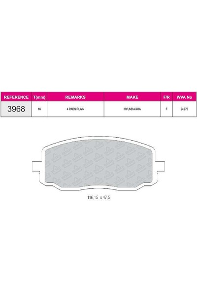 Ferbe Fren Balatası Ön Hyundai İ10 08-11 Kia Picanto 04-10