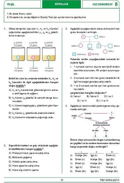 Hız Ve Renk Yayınları Tyt Biyoloji 40 X 6 Denemeleri - Yusuf Mustafa Yıldırım
