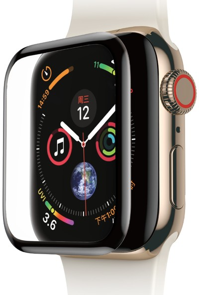 Baseus Apple Watch Seri 4 40 mm Tam Kaplayan Kavisli Ekran Koruyucu 0.3 mm Kırmızı Film Siyah SGAPWA4-A01