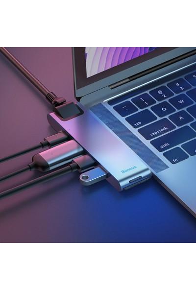 Baseus Thunderbold Type C Ethernet HDMI USB SD Kart Dönüştürücü Gri CAHUB-L0G