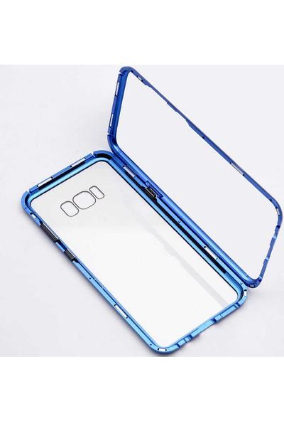 Case 4U Samsung Galaxy A9 2018 Kılıf 360 Tam Koruma Arkası Cam Şeffaf Mıknatıslı - Devrim Mavi