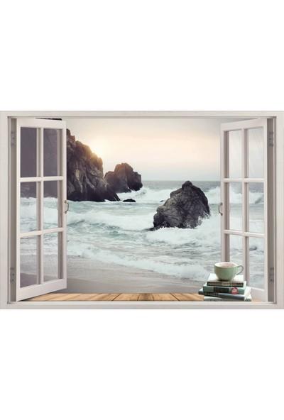 Renkselart Pencere Kayalık Sahil Deniz Duvar Sticker