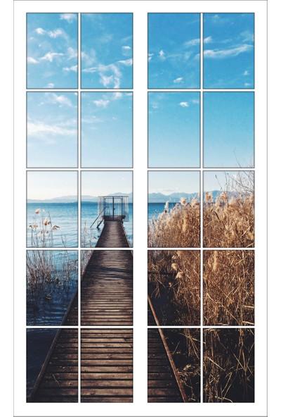 Renkselart Pencere Ahşap İskele Deniz Duvar Sticker