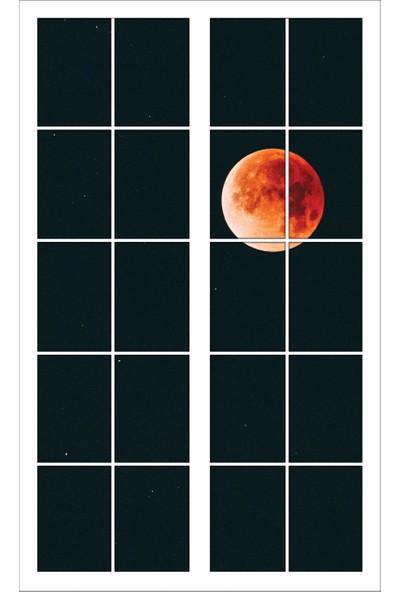 Renkselart Pencere Dolunay Yıldızlı Gece Duvar Sticker