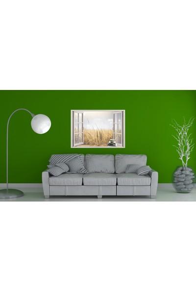 Renkselart Pencere Buğday Tarlası Duvar Sticker