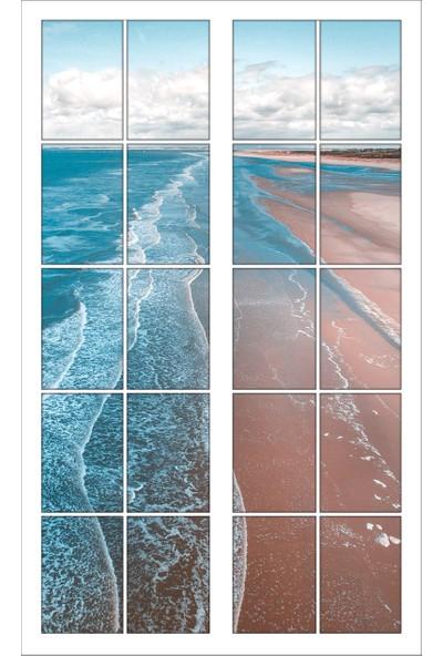 Renkselart Pencere Sahil Deniz Kıyısı Duvar Sticker