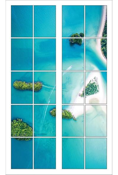 Renkselart Pencere Kuşbakışı Deniz Ada Duvar Sticker