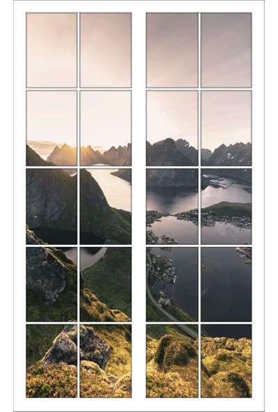 Renkselart Pencere Dağ Gölet Manzara Duvar Sticker