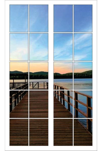 Renkselart Pencere Ahşap İskele Deniz kıyısı Duvar Sticker