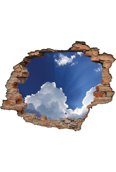 Renkselart Kırık Tuğla Bulutlar Gökyüzü Mavi Duvar Sticker