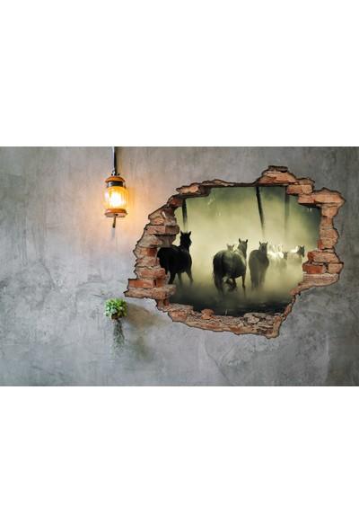 Renkselart Kırık Tuğla Atlar Duvar Sticker