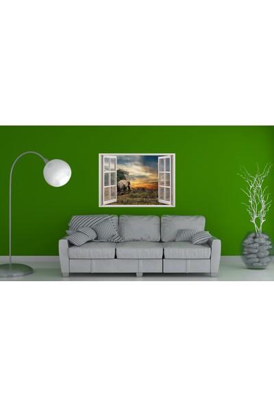 Renkselart Pencere Fil Gün Batımı Duvar Sticker