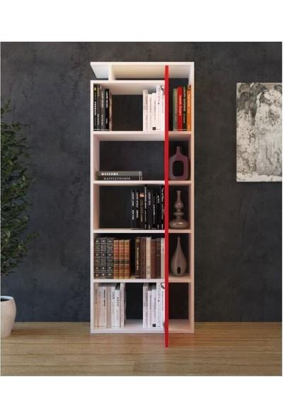 Bmdekor Kitaplık Düş Beyaz Kırmızı