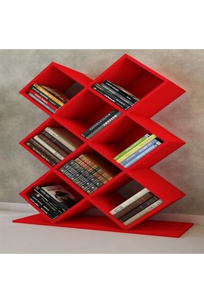 Bmdekor Kitaplık Kasım Tasarım Kırmızı