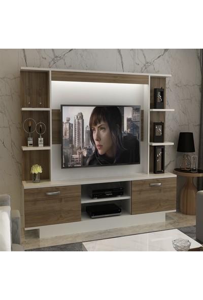 Bmdekor TV Ünitesi Işık Beyaz Ceviz