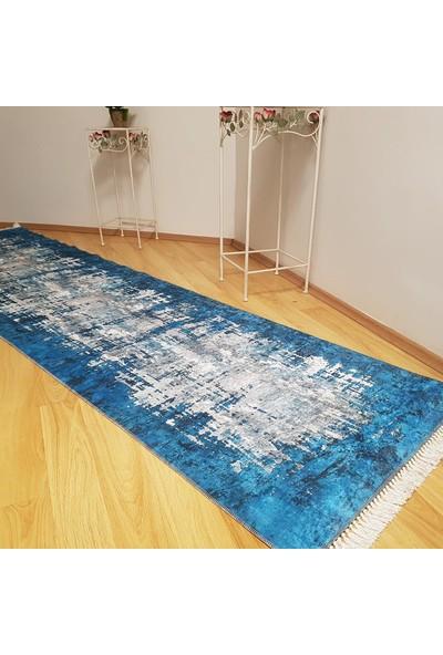 Halıforum Düz Renk Dekoratif Yolluk Mavi-İ-D353 80 x 140 Cm