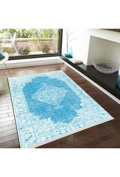 Halıforum Mavi Salon Halısı Ve Yolluk Koyu Renk İnce Halı-İ-D189 80 x 140 Cm