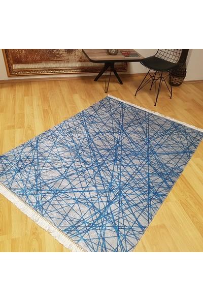 Halıforum Modern Halı Düz Renk Sade Desen Kaymaz Halı Mavi-İ-D336