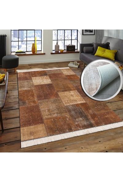 Halıforum Patchwork Desen Kahverengi Halı Yolluk İnce-İ-Hf146 80 x 150 Cm