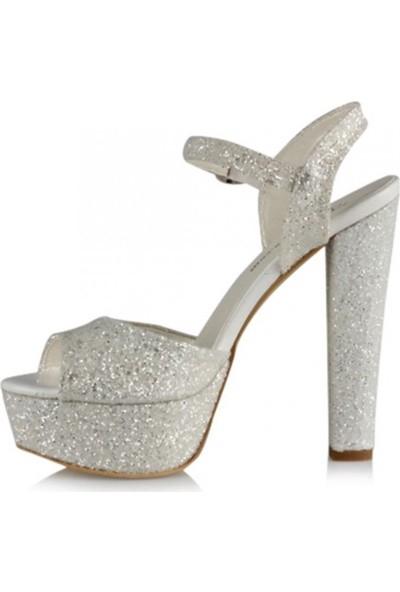 Sothe Ba-1027 Beyaz Cam Kırığı Platform Topuklu Ayakkabı