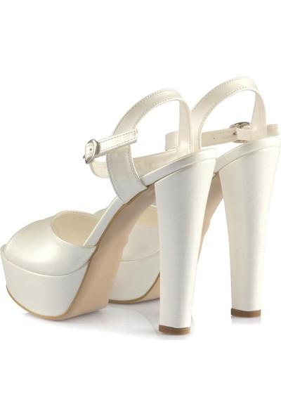 Sothe Ba-1027 Beyaz Deri Platform Topuklu Ayakkabı