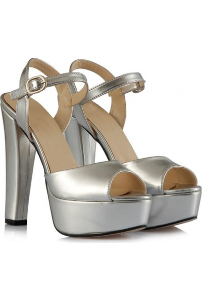 Sothe Ba-1027 Gümüş Deri Platform Topuklu Ayakkabı