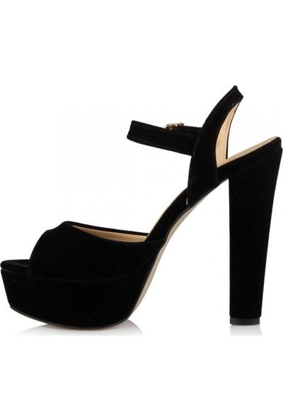 Sothe Ba-1027 Siyah Süet Platform Topuklu Ayakkabı