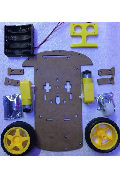 Arduino 2Wd Robot Araba Kiti Büyük Şase Ahşap
