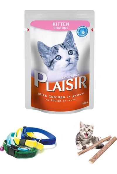 Plaisir Kitten Yavru Pouch Sos İçinde Tavuk Parçalı Kedi Yaş Maması 4X100 Gr , Tasma Ve Catnip Çubuklar