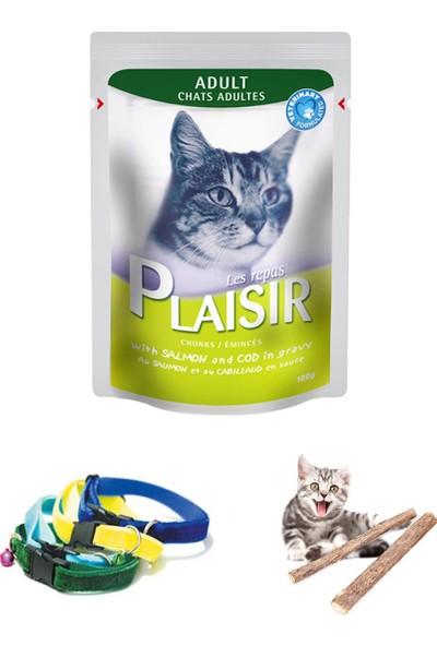 Plaisir Pouch Somonlu Ve Morina Balıklı Yaş Kedi Maması 128X100 Gr ,Tasma Ve Catnip Çubukları