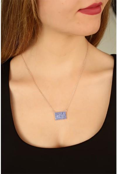 E-Bijuteri 88823 Mavi Renk Zirkon Taşlı Bayan Kolye