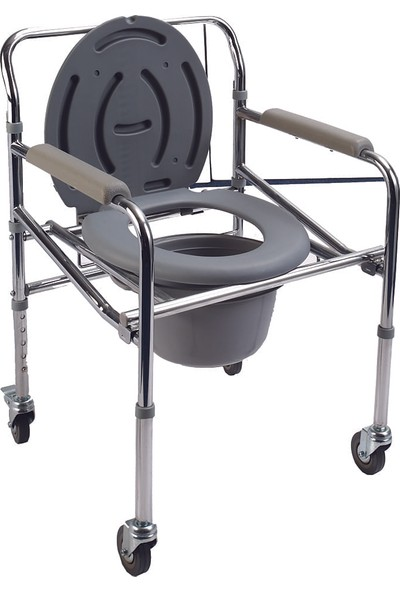 Loco PR-771 Katlanabilir Tekerlekli Klozetli Komot / Foldable Commode Chair W-Wheels