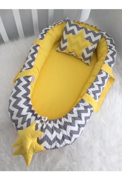 Modastra Baby Nest Gri Zigzag Ve Sarı Kombin Lüx Baby Nest
